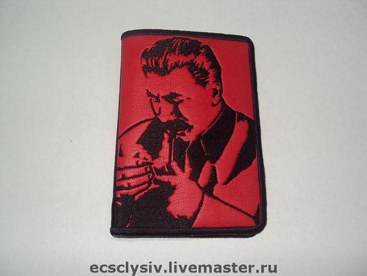 """Обложки ручной работы. Ярмарка Мастеров - ручная работа. Купить Обложка для паспорта """"Сталин"""". Handmade. Паспорт, Машинная вышивка"""