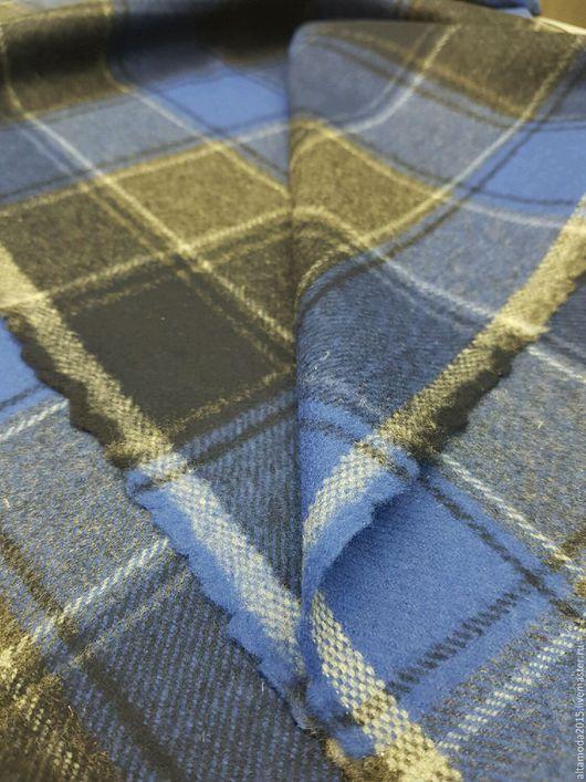 """Шитье ручной работы. Ярмарка Мастеров - ручная работа. Купить Клетка """"шотландка"""" синяя шерсть Ткани Италии. Handmade."""