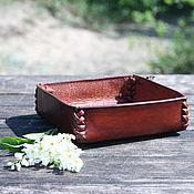 Для дома и интерьера handmade. Livemaster - original item Leather plate (organizer) for interior and office. Handmade.