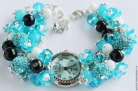 """Часы ручной работы. Ярмарка Мастеров - ручная работа. Купить Часы """"Голубые"""". Handmade. Голубой, белый, часы geneva"""