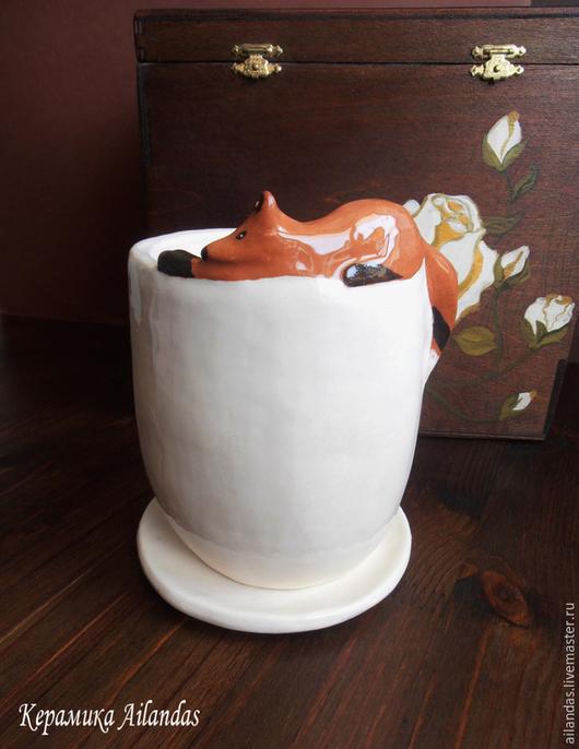 Горшочек цветочный с Лисой Керамика. Ангоб. Глазурь.  в наличии