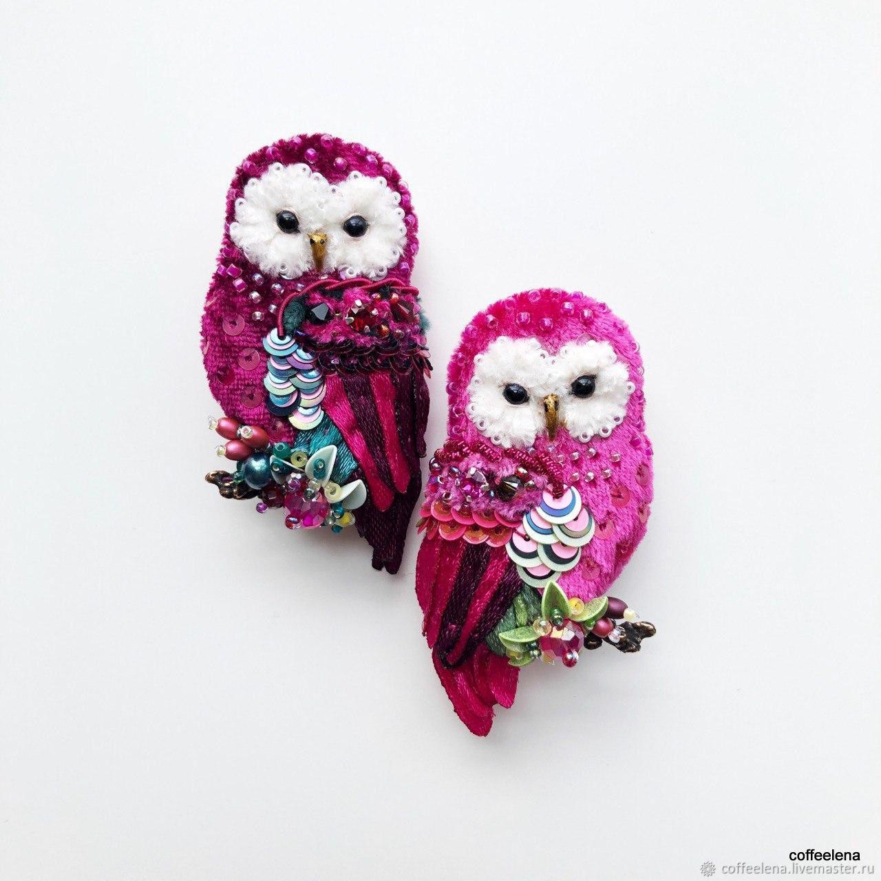 Brooches 'Peony Owls' brooch bird, Brooches, Krasnodar,  Фото №1