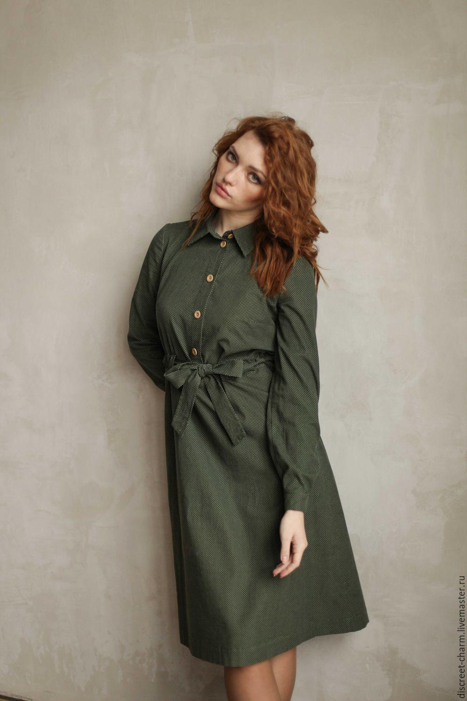 f6a70f28004 Заказать Зелёное платье-рубашка в горох