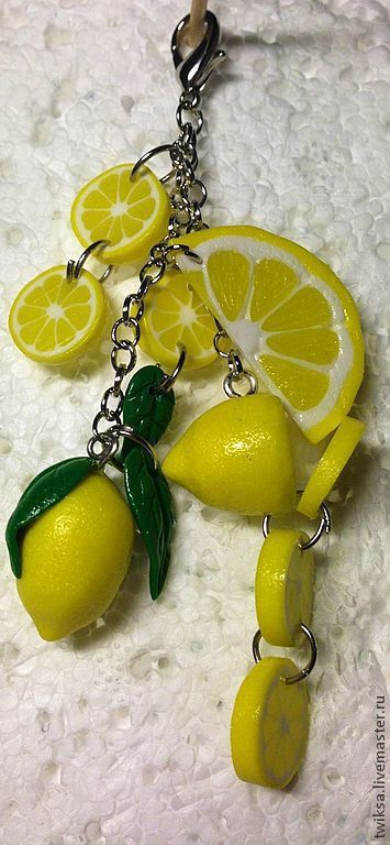 Брелоки ручной работы. Ярмарка Мастеров - ручная работа. Купить Два лимона. Брелок-подвеска. Handmade. Лимонный, полимерная глина