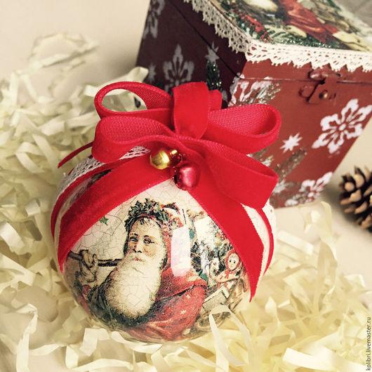 """Новый год 2017 ручной работы. Ярмарка Мастеров - ручная работа. Купить Елочный шарик """"Дед Мороз"""" в подарочной упаковке (продано). Handmade."""