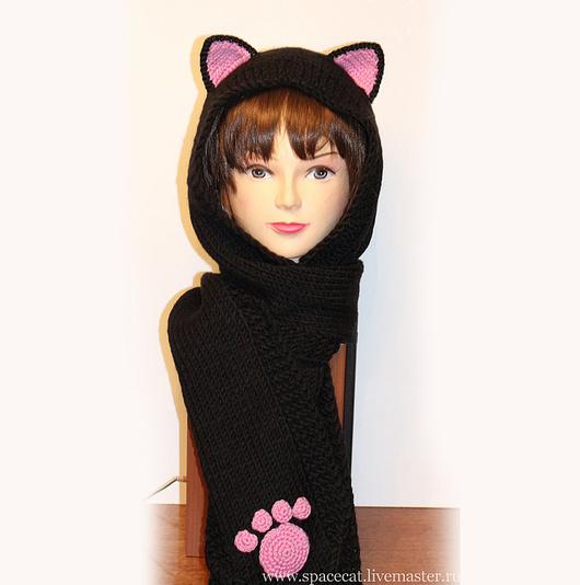 капюшон, капюшон-шарф, капюшон с ушками, капюшон кошка, шарф с кошачьими лапками, капюшон с кошачьими ушками, капюшон вязаный, капюшон башлык, капюшон черный