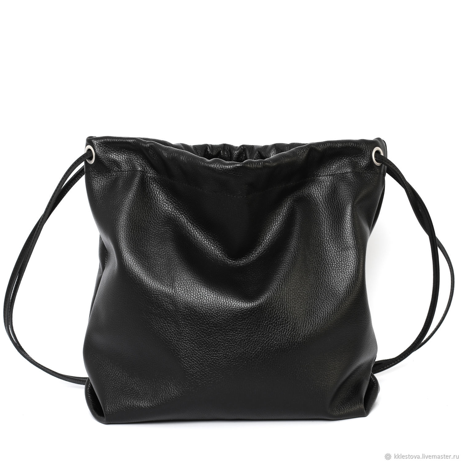 Backpack leather bag black medium size with pocket, Backpacks, Moscow,  Фото №1