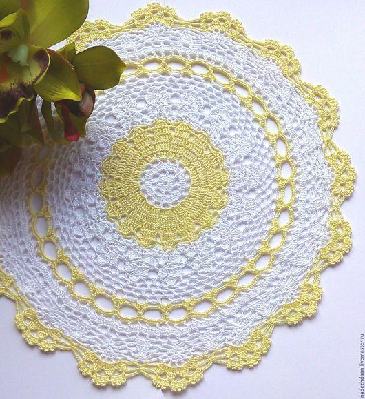 Текстиль, ковры ручной работы. Ярмарка Мастеров - ручная работа. Купить Салфетка кружевная Лучик солнца. Handmade. Белый