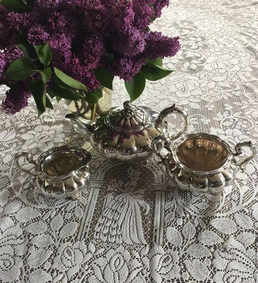 Винтажная посуда. Ярмарка Мастеров - ручная работа. Купить Винтажный чайный сервиз, Англия.. Handmade. Серебряный, винтажный набор, красивое