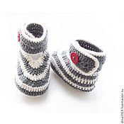 Работы для детей, handmade. Livemaster - original item booties for a boy baby for girl, gray, white, striped. Handmade.