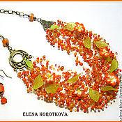 Украшения ручной работы. Ярмарка Мастеров - ручная работа Колье серьги оранжевое рыжее объемное бисерное воздушка подарок девушк. Handmade.