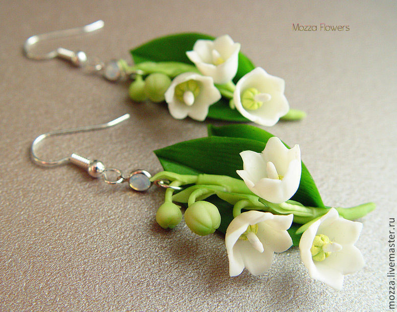 Earrings 'White lilies of the valley'. polymer clay, Earrings, Zarechny,  Фото №1