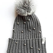 Аксессуары handmade. Livemaster - original item Merino winter hat with rabbit pompom and swarovski pearls. Knitted ha. Handmade.