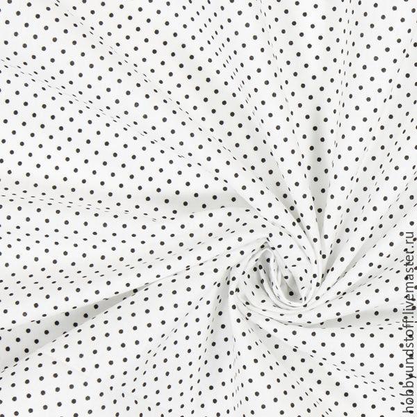 Немецкий хлопок черные горошки, Ткани, Москва,  Фото №1