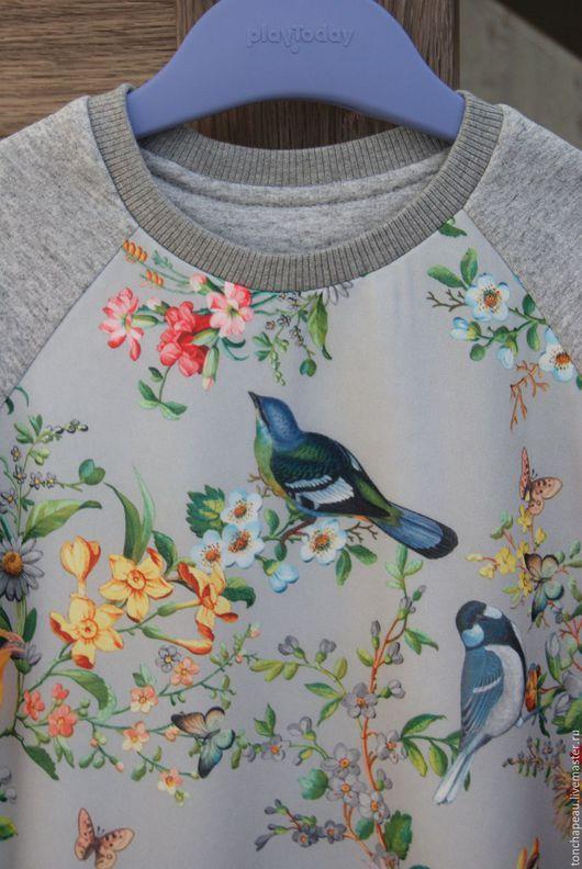 """Одежда для девочек, ручной работы. Ярмарка Мастеров - ручная работа. Купить Свитшот """"Райские птички"""" для девочки. Handmade. Серый, футер"""
