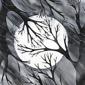 Аксессуары ручной работы. Ярмарка Мастеров - ручная работа Шелковый шарф с ручной росписью (батик) - Лунная ночь.. Handmade.