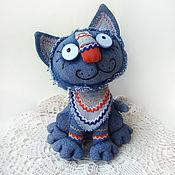 Мягкие игрушки ручной работы. Ярмарка Мастеров - ручная работа Синий кот Нарядный. Handmade.