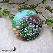 Украшения ручной работы. Ярмарка Мастеров - ручная работа Брошь с вышивкой Весна в деревне. Handmade.