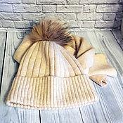 Аксессуары ручной работы. Ярмарка Мастеров - ручная работа Комплект шапочка и шарф «Beige». Handmade.