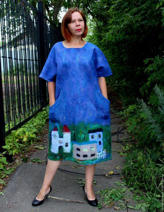 """Платья ручной работы. Ярмарка Мастеров - ручная работа. Купить Валяное платье """"Вечерний город"""" оверсайз. Handmade. Тёмно-синий"""