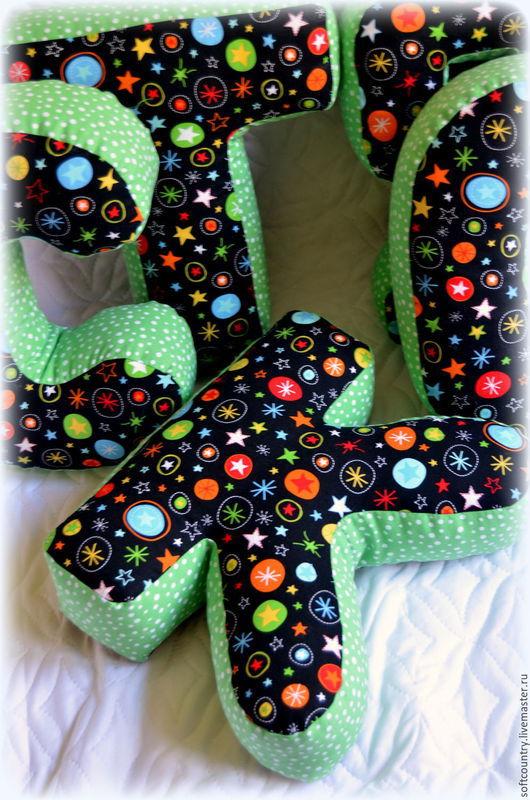 Детская ручной работы. Ярмарка Мастеров - ручная работа. Купить Буквы подушки Костя, звёздные. Handmade. Черный, звездный