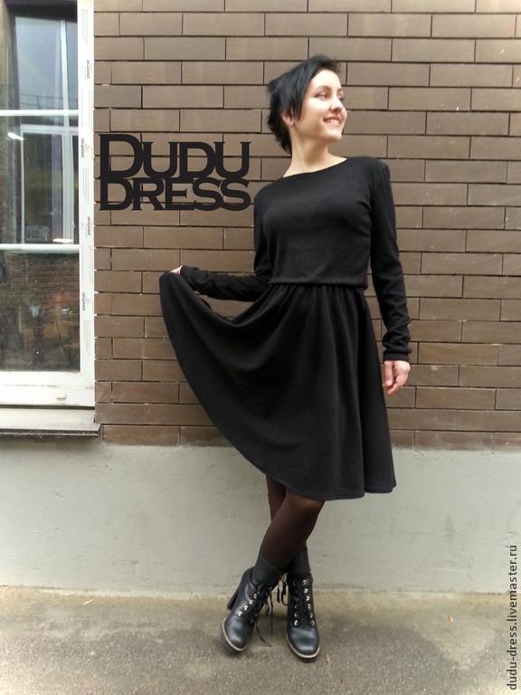 dc53a83ab25 Платья ручной работы. Ярмарка Мастеров - ручная работа. Купить Тёплое  чёрное короткое платье.