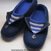 """Обувь ручной работы. Ярмарка Мастеров - ручная работа мужские тапки """" По волнам, по морям..."""". Handmade."""