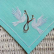 Gifts handmade. Livemaster - original item Wedding Napkins with Embroidery in the style of the Tiffany