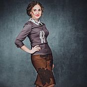 Одежда ручной работы. Ярмарка Мастеров - ручная работа Юбка из шерсти Шоколадные листья. Handmade.