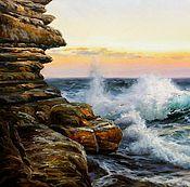 Картины и панно ручной работы. Ярмарка Мастеров - ручная работа Морской пейзаж «Волны у скал». Handmade.