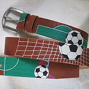 Аксессуары handmade. Livemaster - original item The FOOTBALL leather belt. Handmade.