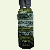 Одежда ручной работы. Ярмарка Мастеров - ручная работа Юбка прямая табак с оливой. Handmade.