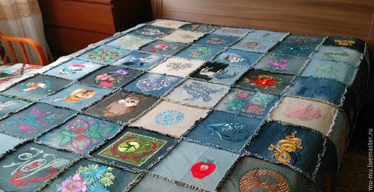 Текстиль, ковры ручной работы. Ярмарка Мастеров - ручная работа. Купить Покрывало(одеяло) пэчворк с вышивкой. Handmade. Комбинированный, подарок на новый год