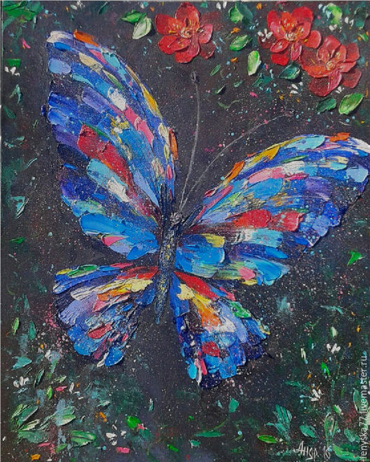 Животные ручной работы. Ярмарка Мастеров - ручная работа. Купить Картина маслом Бабочка 40х50см. Handmade. Комбинированный, картина с бабочкой