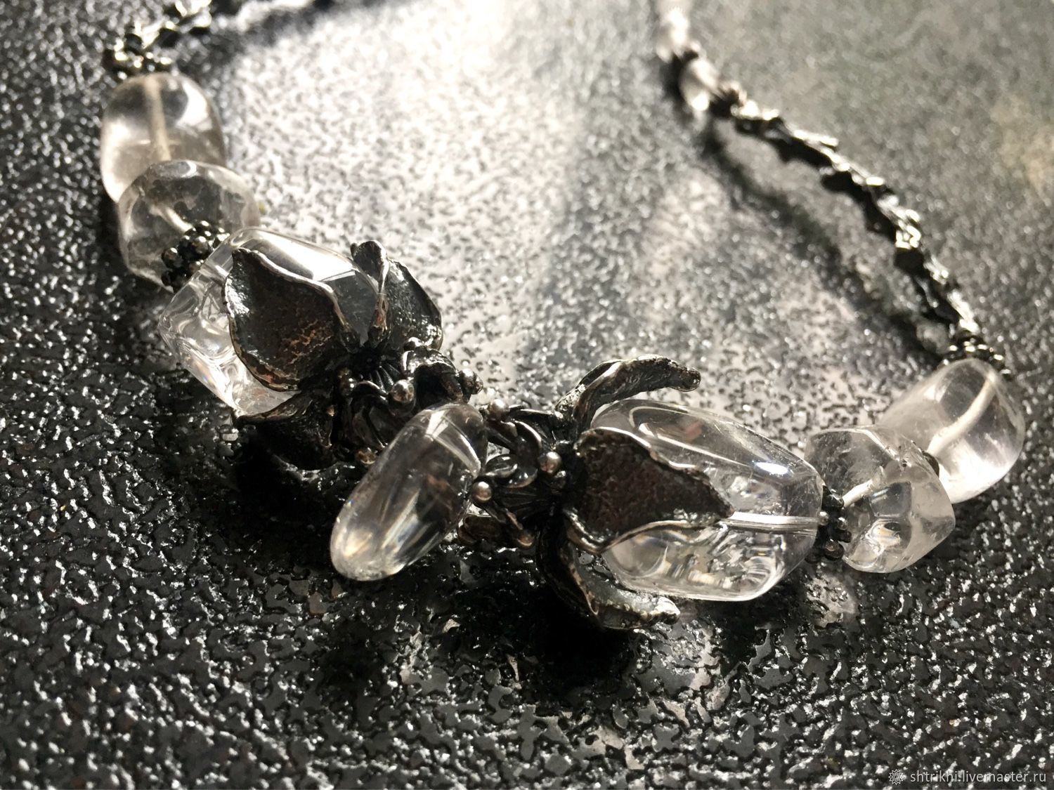 Necklace Black snow.White ice. Rhinestone,designer accessories, Necklace, Moscow,  Фото №1