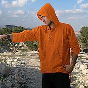 Одежда ручной работы. Ярмарка Мастеров - ручная работа Рыжая летняя рубашка с длинным рукавом, капюшоном из хлопка. Handmade.