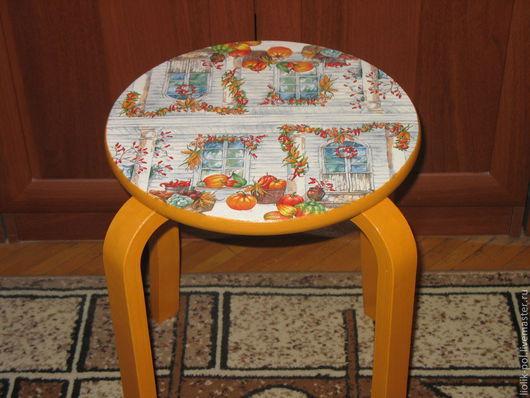 """Мебель ручной работы. Ярмарка Мастеров - ручная работа. Купить Табурет """"Осенние настроение"""". Handmade. Оранжевый, дача"""