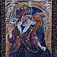 """Фантазийные сюжеты ручной работы. Ярмарка Мастеров - ручная работа. Купить """"Искушение"""". Handmade. Картина на шелке, сюжетная картина, фиолетовый"""