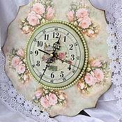 """Часы классические ручной работы. Ярмарка Мастеров - ручная работа Часики """"Нежность розы"""". Handmade."""