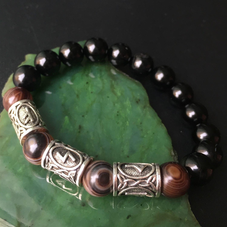 Men's Wealth Bracelet with runes, Agates, Bead bracelet, Krasnodar,  Фото №1