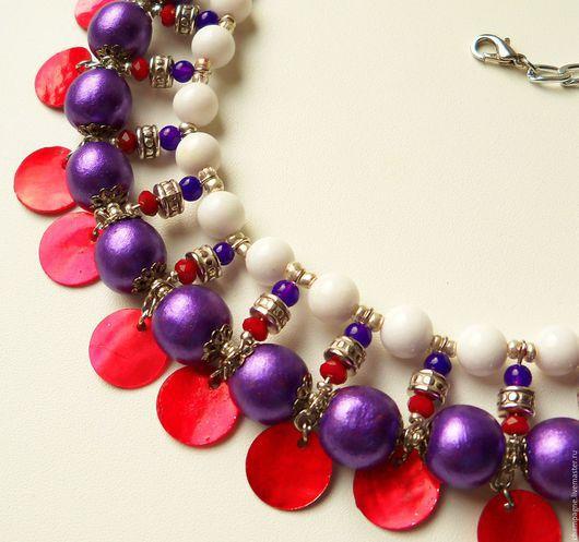 """Колье, бусы ручной работы. Ярмарка Мастеров - ручная работа. Купить Колье """"Фиолетовый декаданс"""". Handmade. Разноцветный, белый, красный"""