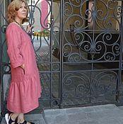 Одежда ручной работы. Ярмарка Мастеров - ручная работа Платье изо льна  Стеша с оборкой. Handmade.