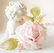 Цветы и флористика handmade. Livemaster - original item Rose silk is a soft ivory color. double crimped brooch-barrette. Handmade.