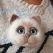 Брошь-булавка ручной работы. Ярмарка Мастеров - ручная работа Брошка Кошечка из шерсти. Handmade.