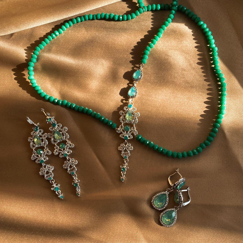 Комплект украшений - тика и серьги зелёный опал Green Opal, Диадемы, Санкт-Петербург,  Фото №1