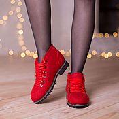 Обувь ручной работы. Ярмарка Мастеров - ручная работа Валяные ботинки Красные. Handmade.