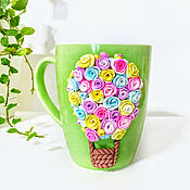 Посуда handmade. Livemaster - original item Mug with flowers made of polymer clay. Handmade.