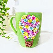 Кружки ручной работы. Ярмарка Мастеров - ручная работа Кружка с цветами из полимерной глины. Handmade.