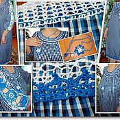 Одежда handmade. Livemaster - original item Stylized folk boho dress with handmade crochet lace medium d. Handmade.