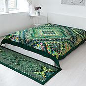 """Для дома и интерьера ручной работы. Ярмарка Мастеров - ручная работа """"Зелёное"""" лоскутное двуспальное покрывало(пэчворк). Handmade."""